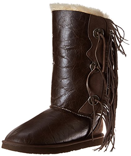 Koolaburra Women's Trishka Tall Fringe Snow Boot, Cappuccino, 5 M US
