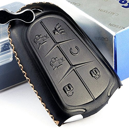 Cadtealir Calfskin Genuine Leather 2015-2018 cadillac escalade Remote key fob cover leather cadillac escalade key fob case holder only for 6 buttons black color by Cadtealir
