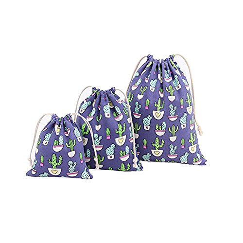 Yonger Cute Cactus Printing Cotton Drawstring Backpack Sack Bag Gift Sacks Storage Pouch Linen Bags Wedding Party Favor Blue 1pcs 25×32CM