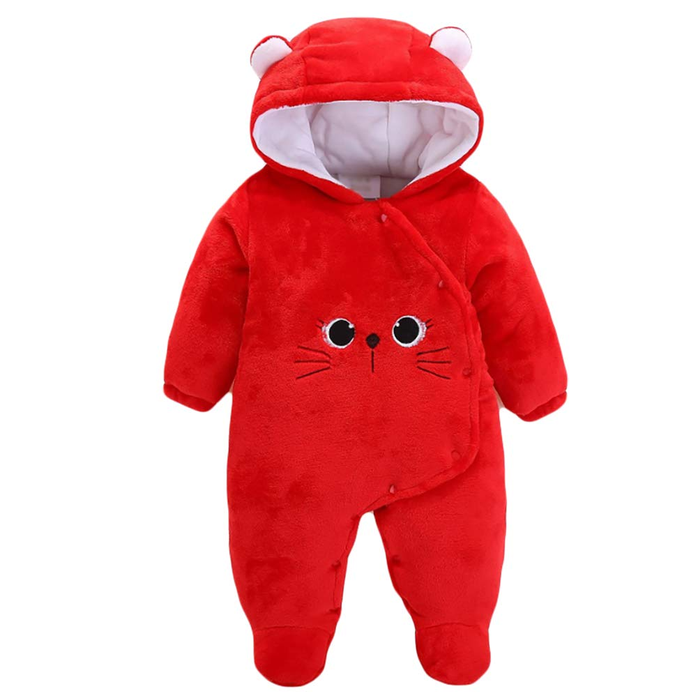 Goodkids Infant Winter Jumpsuit Romper Baby Boy Girl Flannel Thick Bear Onesie Hoodie Snowsuit Clothes Outfit Warm Outwear