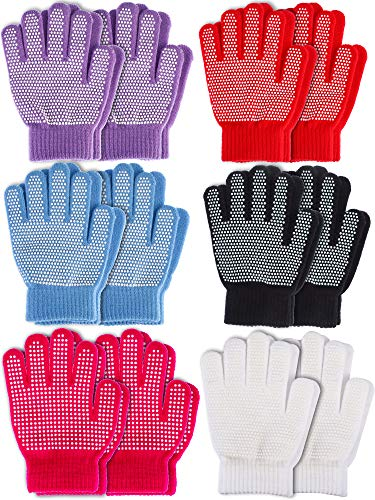 Sumind 12 Pairs Kids Winter Gloves Full Finger Mittens Colored Knit Gloves for Boys Girls, 2 Styles (Assorted #1, Kids Size 5 to 12 Years)