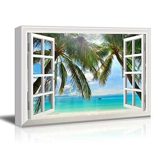Print Window Frame Style Wall Decor Palm Trees and Tropical Beach Stretched