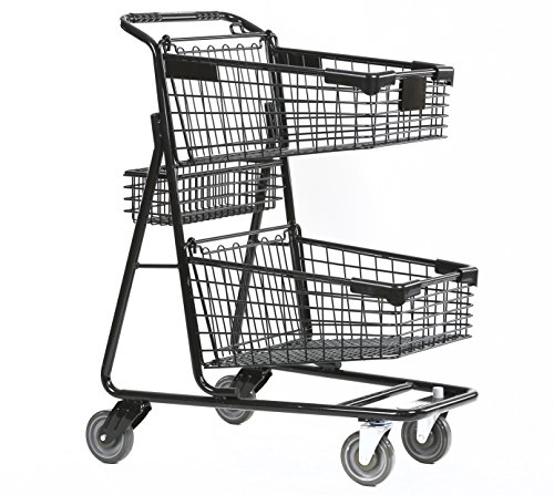 Advance Carts 100x-Black-3pack XPress Series Shopping Cart, 100 L, Black Powder Coat (Pack of 3) by Advance Carts