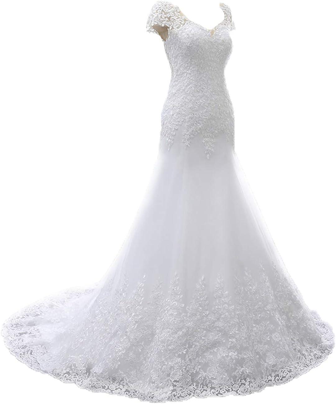 Brautkleider Lang Elegant V-Ausschnitt Hochzeitskleid A-Linie Tüll