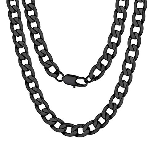 ChainsPro Stainless SteelChain Double Curb Cuban Link Rombo  Necklaces for Men Jewelry Black