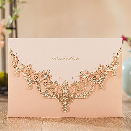 WISHMADE Wedding Invitations Cards, Light Pink, 100 Pieces, CW7011, Customized Printing