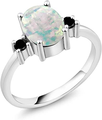 1.73 Ct Oval White Simulated Opal White Diamond 925 Sterling Silver Ring