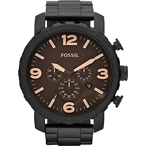 Fossil JR1356 Nate Stainless Steel Watch (Fossil Mens Black Dial Watch)