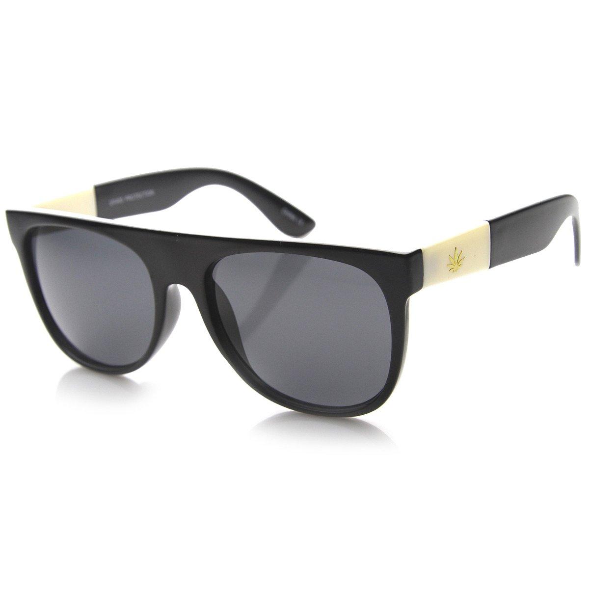 Retro Flat Top Gold Detailed Marijuana Weed Leaf Horn Rimmed Sunglasses (Ivory Leaf | Shiny Black/Smoke)