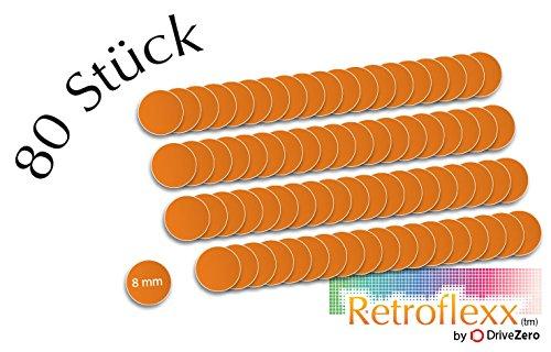 .drivezero. Retroflexx Reflektoren rund 8 mm, 80 Stück in Orange