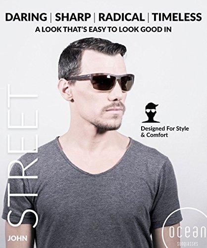 mate Color Negro Marrón única Gafas Talla John Carey de Sunglasses Negro Ocean y Negro Unisex Sol wfq70Y