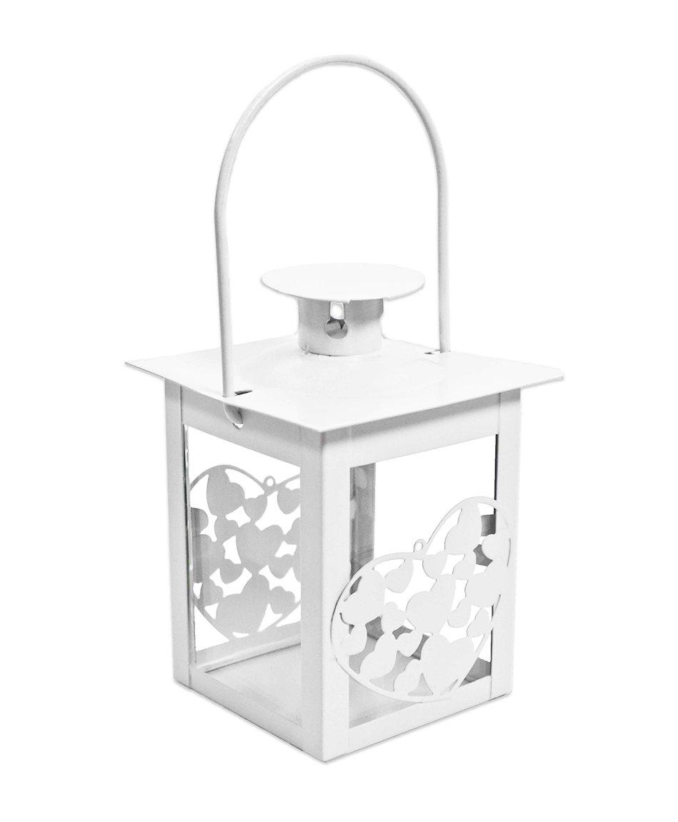 Farol Corazones Blanca Forma Cuadrada color Blanco, hecha de metal. Útil como Farol, Bombonera, Puerta Confetti o segnatavolo Pacini