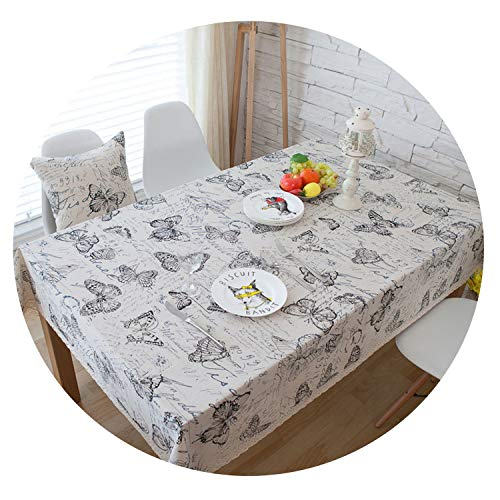 lovehouse21 Decorative Tablecloth Linen Tablecloth Rectangular Tablecloths Dining Table Cover Obrus Tablecloth Mantelpiece Mesa Holly,Butterfly,140180Cm