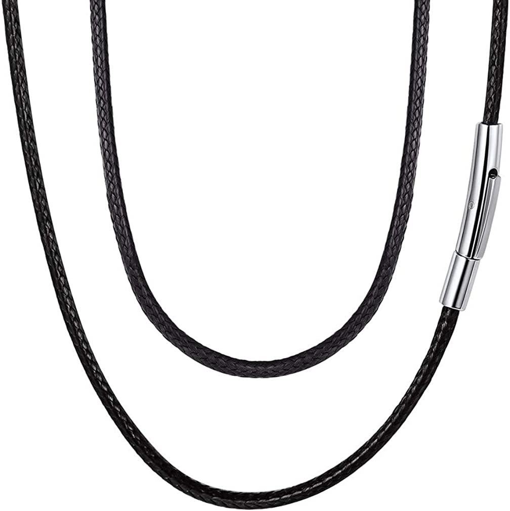 FaithHeart Braided Leather Cord 2MM/3MM Chain Necklace Stainless Steel Durable Snap Clasp, Men Women DIY Waterproof Woven Wax Rope Chain for Pendant (Gift Packaging)