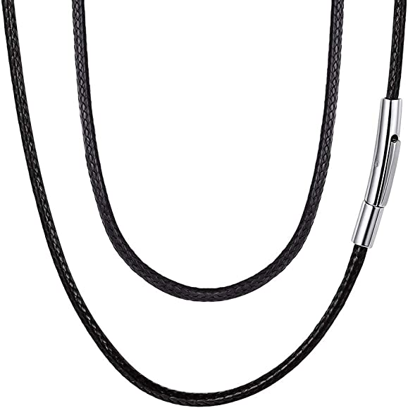 White-gold Black Leather Cord 2mm