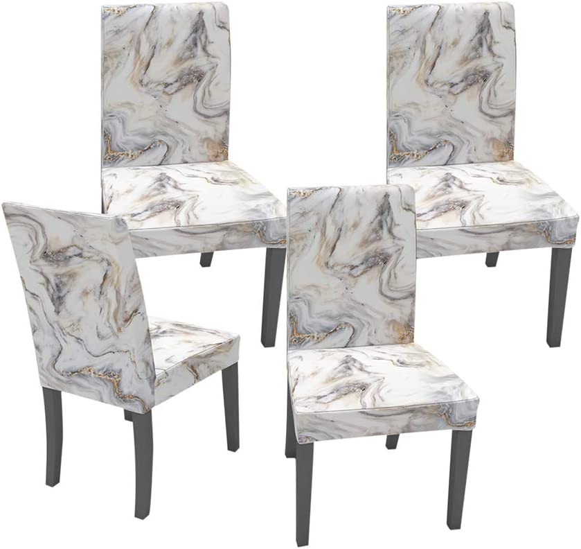 Muuyi Dining Room Chair Covers Removable Washable Marble Stretch Chairs Slipcovers Seat Slipcover Furniture Protector for Ceremony Hotel Wedding - 4 Pack