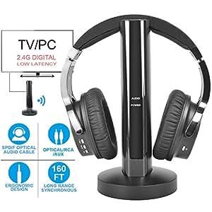 Inalámbrico para TV Auricular 2.4G Transmisor de RF digital Base de carga, Hi-Fi Auriculares inalámbricos sobre oreja para ver juegos de TV para el hogar Radio para computadora