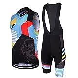 Mzcurse Women's Cycling Wind Vest WindVest Sleeveless + 3D Padded Bib Pants Shorts Set