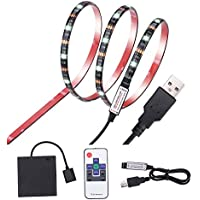 Led Strip Lights Inwaysin USB Battery Powered RGB Strip Light 6.56ft(2M) 60leds Flexible Tape Light with RF Remote Controller for HDTV, Flat Screen TV Accessories and Desktop PC, Multi Color