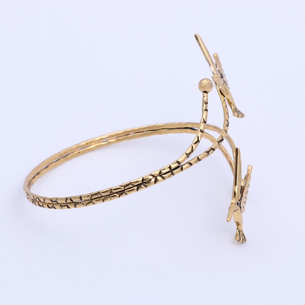 TUSHUO Simple Double Hummingbird Arm Bangle Bracelet Fashion Animal Bird Jewelry Upper Armlet Armband (Antique Gold) by TUSHUO (Image #4)