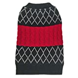 azuza Dog Sweater Dog Knit Pullover Fall Winter Warm Back Length 12'' for Small Dogs Red Color Classic Stripe