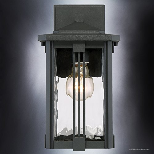 Luxury Craftsman Outdoor Wall Light, Small Size: 12.25''H x 6.5''W, with Mid-Century Modern Style Elements, Vertical Stripes Design, Natural Black Finish and Water Glass, UQL1050 by Urban Ambiance by Urban Ambiance (Image #4)