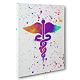 Rainbow Watercolor Medical Caduceus Canvas Wall Art