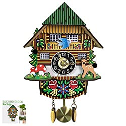 NANANA Cuckoo Clock Black Forest Antique Clock, Small Cuckoo Clock with Hand Carved, Decorations in Black Forest Style, Multiple Styles,a