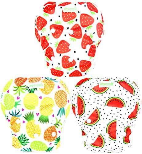 Wegreeco Baby & Toddler Snap One Size Reusable Baby Swim Diaper (Fruits, Large, 3 Pack)