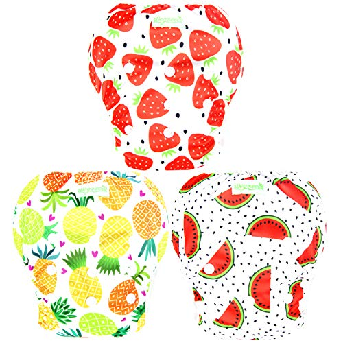 Wegreeco Baby & Toddler Snap One Size Reusable Baby Swim Diaper (Fruits, Small, 3 Pack) from wegreeco