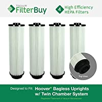 4 - Hoover WindTunnel, EmPower, Savvy Washable Long-Life HEPA Filters, Part #s 40140201, 43611042 & 42611049. Designed by FilterBuy to fit ALL Hoover Upright Vacuum Cleaners