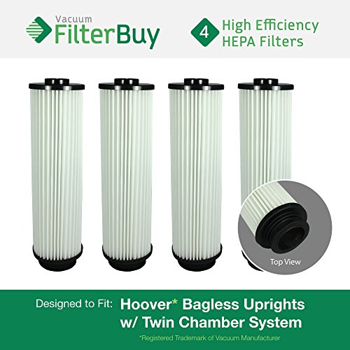 Vacuum 40140201 Hepa Filter Replacement (4 - Hoover WindTunnel, EmPower, Savvy Washable Long-Life HEPA Filters, Part #'s 40140201, 43611042 & 42611049. Designed by FilterBuy to fit ALL Hoover Upright Vacuum Cleaners)