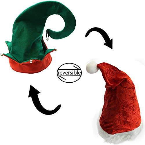 [Christmas Hats - Holiday Theme Hats - Santa Hats - by Funny Party Hats (Reversible Christmas and Elf] (Elf Hats For Adults)