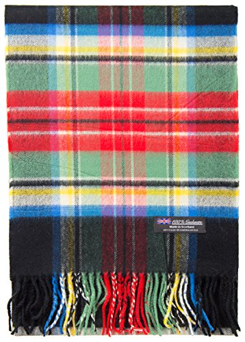 Scarf Plaid Cashmere (2 PLY 100% Cashmere Scarf Elegant Collection Made in Scotland Wool Solid Plaid (Black Red Green Plaid DY MIX))