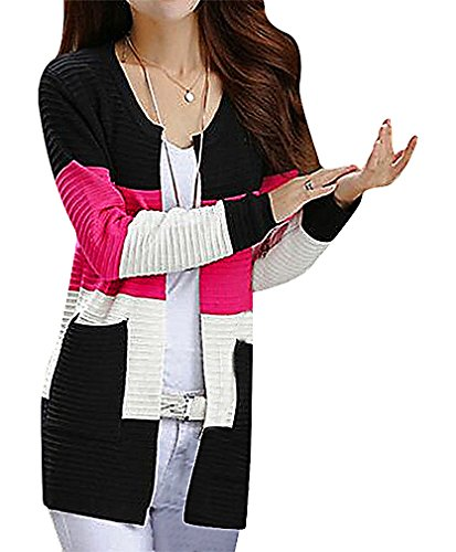 Maze, Women's Panelled Pocketed Long Sleeve Crew Neck Ribbed Midi Cardigan, Pink One Size