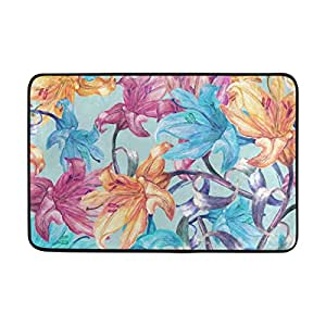 LORVIES Lily Flowers Pattern Doormat, Entry Way Indoor Outdoor Door Rug with Non Slip Backing, (23.6 by 15.7-Inch)