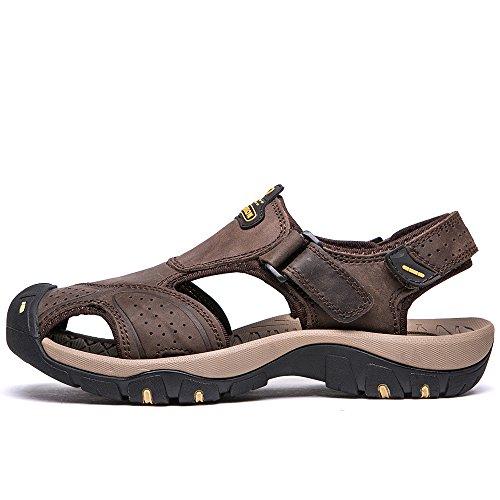 punta da pelle Vilocy trekking uomo sportivi sandali Marrone estivi sandali chiusa in Buio a da 4ZwRwq0Cn
