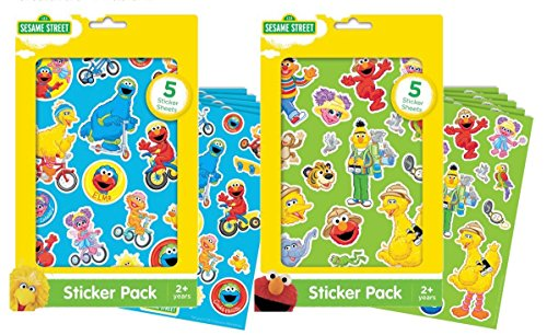 Sesame Street Sticker Packs - 10 Sheets Total! Featuring Elmo, Big Bird, Cookie Monster and More of Your Favorite Characters -