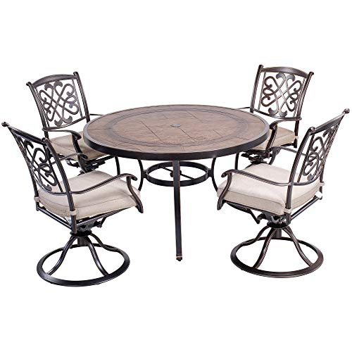 dali Outdoor 5 Piece Dining Set Patio Furniture, Deep Cushioned Aluminum Swivel Rocker Chair Set with 48 inch Round Crafttech Top Aluminum Table