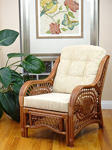Large Natural Wicker - Malibu Lounge Armchair ECO Natural Rattan Wicker Handmade Design with Cream Cushion, Colonial (Light Brown)