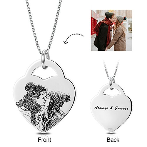 Personalized Photo Necklace Heart Custom Engraved Pendant Tag Christmas Birthday Gifts for Women (Heart-Sterling silver, (Personalized Photo Locket)
