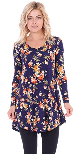 Tunic Length Floral Top (Popana Women's Tunic Tops For Leggings - Long Sleeve Vneck Shirt - Regular and Plus Size - Made In USA 2X ST72)