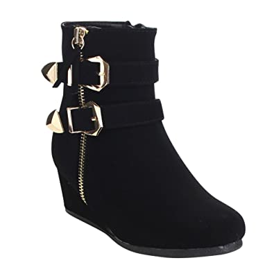 c504bc02a48 Link Peggy-90K Children Girl s Wedge Heel Double Straps High Top Ankle  Booties