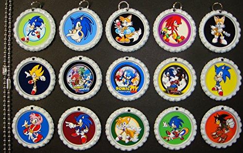 15 Sonic The Hedgehog White Bottle Cap Pendant Necklaces Set 1