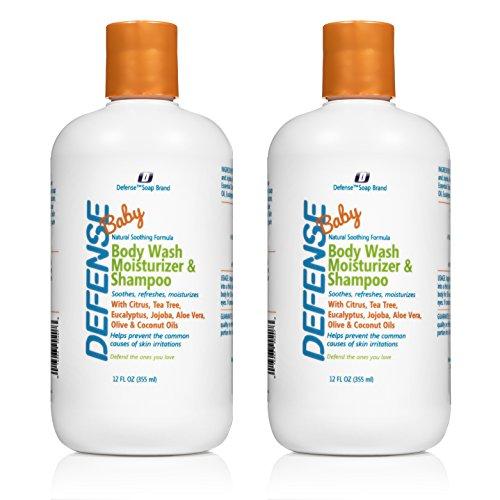 Defense Soap Baby Body Wash Moisturizer & Shampoo with Citrus, Tea Tree, Eucalyptus, Jojoba, Aloe Vera, Olive & Coconut Oils (Pack of 2)