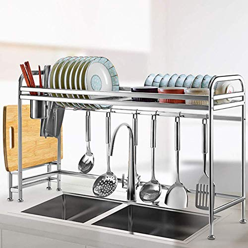 Xue-Shelf Dish Drying Rack Dish Rack Over Sink,304 Stainless Steel Dish Rack with Utensil Holder Hooks for Kitchen Counter Drainer Rack,91CM ()