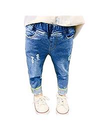 PAUBOLI Ripped Jeans Baby Girl Infant Toddler Denim Pants Elastic Waist 12M- 5T