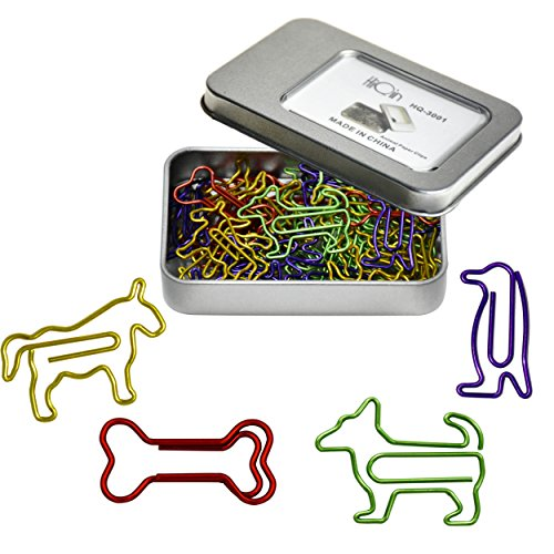 Colorful Paper Clips Assorted Shapes in A Metal Paperclips Holder - Funny Office School Supplies Birthday Gifts for Women Kids