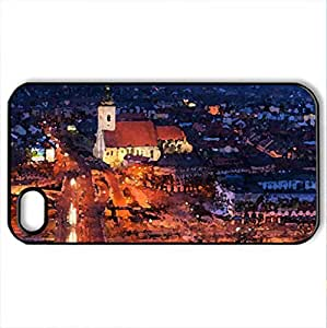616_CITY_NIGHT_IN_MADRID - Case Cover for iPhone 4 and 4s (Watercolor style, Black)