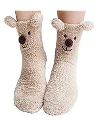 Winter Animal Slipper Socks Warm Coral Christmas Stockings Cozy Non-slip Floor Socks
